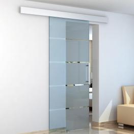 Homcom® Puertas Correderas de Cristal Con 4 Rayas Instalación Sin Obras  - 205X102,5 Cm  - Color: Translúcida