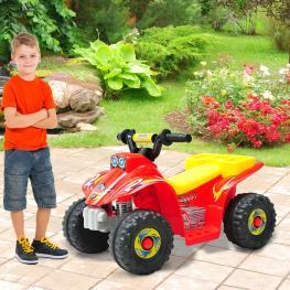 Homcom Quad Infantil de Bateria Tipo Coche Eléctrico  - Rojo Amarillo y Negro 65 X 43 X 43 Cm Para Niños Mayores de 18 Meses  - Color: Rojo