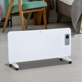 Homcom® Radiador Eléctrico Calefactor Con Ruedas Convector de Pared/pie 1000/2000W<br> - Color: Blanco
