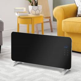 Homcom® Radiador Eléctrico Calefactor de Vidrio Convector de Pared/pie 1000/2000W  - Color: Negro Plateado