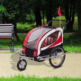Homcom Remolque Bicicleta Para Niños Con Barra de Paseo 2 Plazas Asiento Acolchado y Rueda Giratoria 360°<br> - Color: Rojo
