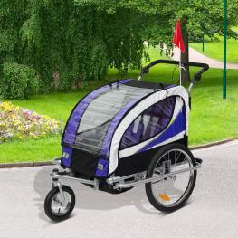 Homcom Remolque Bicicleta Para Niños Con Barra de Paseo 2 Plazas Asiento Acolchado y Rueda Giratoria 360°  - Color: Violeta