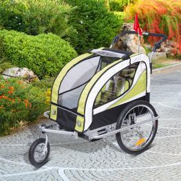 Homcom Remolque Bicicleta Para Niã±os Con Barra de Paseo 2 Plazas Asiento Acolchado y Rueda Giratoria 360â°<br> - Color: Verde