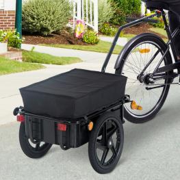 Homcom Remolque de Bicicleta Negro Acero 144X59X80Cm<br> - Color: Negro