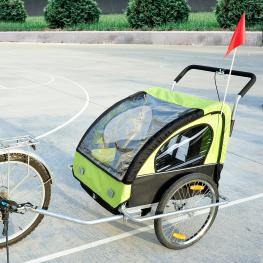 Homcom Remolque de Bicicleta Para Niños Con 2 Plazas<br> - Color Verde<br> - 122X90X106Cm<br> - Color: Verde