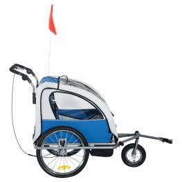 Homcom Remolque Infantil de Bicicleta Con 2 Plazas y Rueda 360º Con Acoplamiento Universal<br> - Gris y Azul<br> - 125X88X107Cm<br> - Color: Azul y Gr