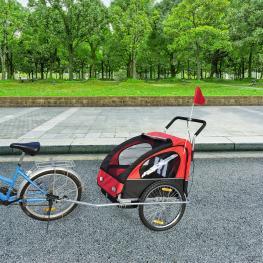 Homcom Remolque Para Bicicleta Para Niños 2 Plazas y Carro de Empuje Para Córrer  - Color Rojo 122X90X106Cm  - Color: Rojo y Negro