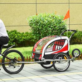 Homcom Remolque Para Bicicleta Tipo Carro Con Barra de Paseo Para Niños de 2 Plazas Con Rueda Delantera Giratoria 360° y Asiento Acolchado - Color: Ro