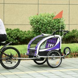 Homcom Remolque Para Bicicleta Tipo Carro Con Barra de Paseo Para Niños de 2 Plazas Con Rueda Delantera Giratoria 360° y Asiento Acolchado<br> - Color