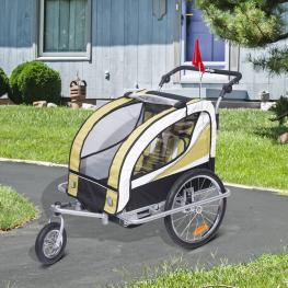 Homcom Remolque Para Bicicleta Tipo Carro Con Barra de Paseo Para Niños de 2 Plazas Con Rueda Delantera Giratoria 360° y Asiento Acolchado - Color: Am