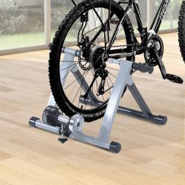 Homcom Rodillo Entrenamiento Bicicleta Acero Cicloentrenador Gris Bici Interior Ciclismo  - Color: Plateado