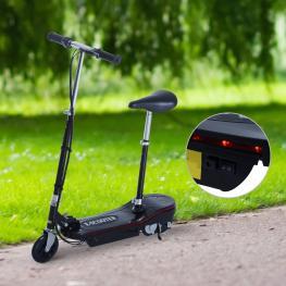 Homcom® Scooter Eléctrico Con Luz Led Asiento Ajustable Acero Negro 81.5X37X96Cm  - Color: Negro