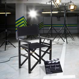 Homcom® Silla de Director Plegable En Madera Para Cine Carga 120Kg 56X46X82Cm<br> - Color: Negro
