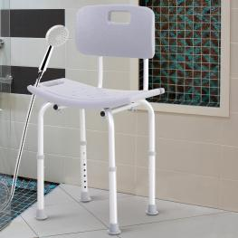 Homcom Silla de Ducha Antideslizante y Regulable Para Baño Wc - Gris y Plata - 55X50.6X67.5-85.5Cm (Lxanxal) - Color: Gris