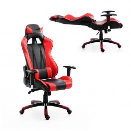 Homcom® Silla de Oficina Elevable y Giratoria<br> - Rojo y Negro 67X67X123-132Cm<br> - Color: Rojo