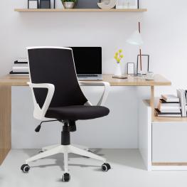 Homcom Silla de Oficina Giratoria de Estilo Moderno y Juvenil Con Altura Ajustable y Tejido de Malla  - 59X61X93-103Cm  - Color: Negro y Blanco
