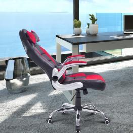 Homcom Silla de Oficina Tipo Sillón Giratorio de Escritorio Con 2 Almohadas - Negro y Rojo - 67X69X118-127Cm - Color: Negro y Rojo