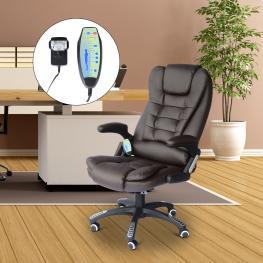 Homcom Silla de Oficina y Escritorio Tipo Sillón Giratorio Reclinable y Elevable<br> - Color Marrón<br> - 62X68X111-121Cm<br> - Color: Marron