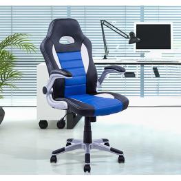 Homcom® Silla Oficina Ejecutiva Giratoria Negro Azul y Blanco<br> - Color: Azul Blanco Negro