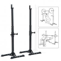 Homcom® Soporte Estante Ajustable Para Barra y Pesas Carga Max 150 Kg Negro 52 X 80 X 105  - 163 Cm  - Color: Negro