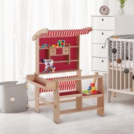 Homcom® Supermercado de Juguete Madera Para Niños +3 Años Tienda Infantil de Madera Roja 90X70X120Cm  - Color: Rojo