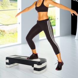 Homcom Tabla de Step Ajustable y Antideslizante Para Fitness Aeróbic Deporte Gimnasia - Color Negro y Gris - Plástico - 80X31Cm -