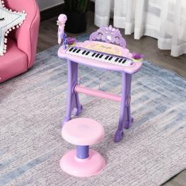 Homcom® Teclado Electrónico Infantil 32 Teclas Juguete Musical Con Micrófono Taburete  - Color: Rosa