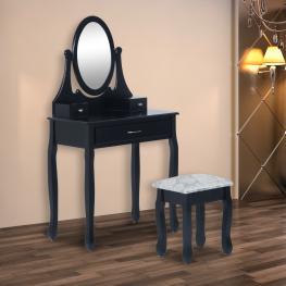 Homcom Tocador Con Espejo Madera Negro 88X40X140Cm<br> - Color: Negro