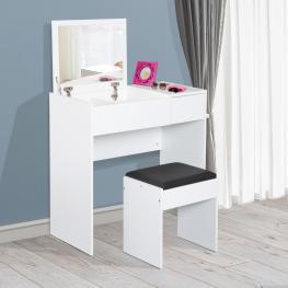 Homcom® Tocador Con Taburete Espejo Tapa Abatible Mesa Para Maquillaje 3 Cajas y 1 Cajón Blanco<br> - Color: Blanco