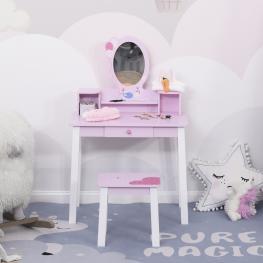 Homcom Tocador Infantil Con Taburete y Espejo Tipo Princesa Mesita de Maquillaje de Madera Rosa  - 59X39X92Cm  - Color: Rosa