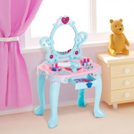 Homcom® Tocador Maquillaje Infantil Con Luz y Sonido 43.5X31.5X72.5Cm  - Color: Azul