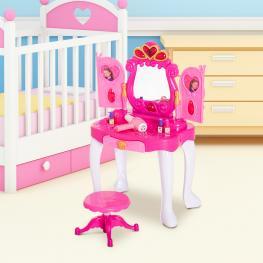 Homcom® Tocador Niña Mesita de Maquillaje Con Luz y Sonido Rojo 43.5X31.5X72.5Cm  - Color: Rosa
