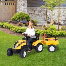 Homcom Tractor Pedal Con Remolque Para Niños 3-6 Años Juguete de Montar Coche de Pedales Carga 35Kg 123X42X51Cm Acero y Plástico  - Color: No