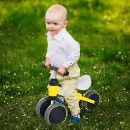 Homcom® Triciclo Bicicleta Sin Pedales Para Niños 18-24 Meses Amarillo 47X19X35Cm  - Color: Amarillo