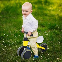 Homcom® Triciclo Bicicleta Sin Pedales Para Niños Mayores de 1 Año Amarillo 47X19X35Cm<br> - Color: Amarillo