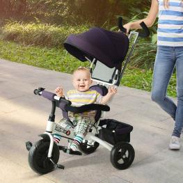 Homcom® Triciclo Para Niños Con Capota Morado y Blanco Hierro Plástico y Tela 92 X 51 X 110Cm<br> - Color: Morado y Blanco