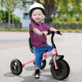 Homcom Triciclo Para Niños Más de 18 Meses Con Timbre Guardabarros Rueda de Seguridad<br> - 74X49X55Cm Rosa<br> - Color: Rosa