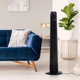 Homcom Ventilador Con Mando A Distancia Diseño En Torre y Oscilante 70° Negro  - Color: Negro