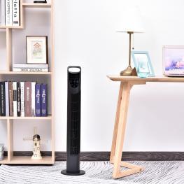 Homcom Ventilador Torre Con Mando A Distancia 3 Ajustes de Velocidad Oscilante Negro  - Color: Negro