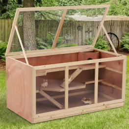Jaula Madera Para Roedores Animales Pequeños Hamster Raton Cobaya Chinchilla - Color: Color Madera