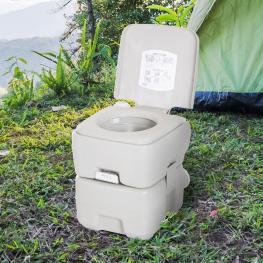 Kleankin Inodoro Portátil Químico Baño 20L Con Tapa Para Camping Viaje  - 41.5X36.5X42Cm  - Color: Gris