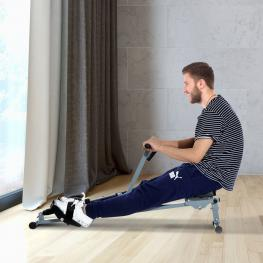 Máquina de Remo Ajustable Con Pantalla Para Fitness €� Color Gris - Acero, Pvc €� 130 X 67.5 X 67Cm - Color: Gris