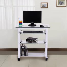 Mesa de Ordenador Pc Oficina Despacho Escritorio Con Estantes de Vidrio<br> - Blanco<br> - 80X51X83 Cm<br> - Color: Blanco