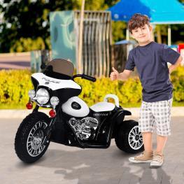 Moto Eléctrica Coche Triciclo Niños + 3 Años – Color Negro y Blanco– Metal, Pp – 80 X 43 X 54.5Cm  - Color: Negro y Blanco