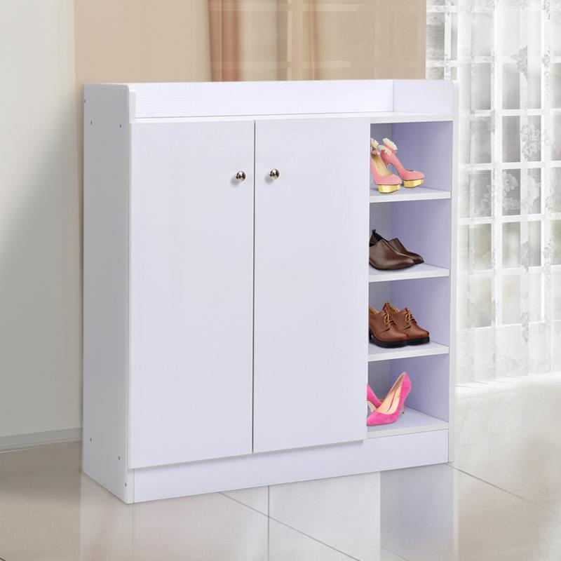 Mueble Zapatero Armario Para Zapatos 2 Puerta Estanteria 80x30x90cm Color Blanco