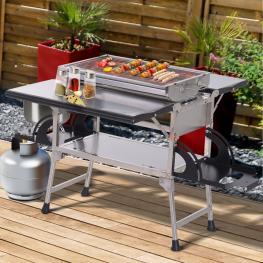 Outsunny® 3 En 1 Cocina Portátil Multifuncional del Aire Libre Barbacoa de Carbón Quemador Gas Convertible En Mesa Plegable<br> - Color: Plateado