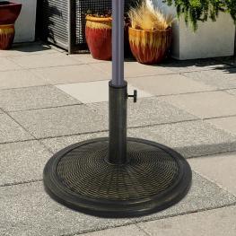 Outsunny® Base de Sombrilla Ajustable Soporte de Sombrilla Universal Pie de Parasol de Cemento Redondo Estilo Retro Hdpe Patio Jardín Playa φ48X34Cm<b