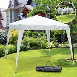 Outsunny® Carpa Cenador Plegable Para Exterior Blanco-Gris Acero y Oxford 3 X 3M  - Color: Blanco