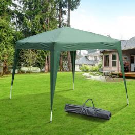 Outsunny Carpa Cenador Plegable Para Exterior Para Jardín Camping Fiesta Tienda Eventos – Color Verde Oscuro – Acero y Oxford  - 3 X 3M  - Color: Verd