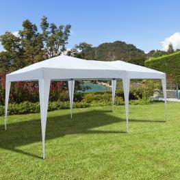 Outsunny Carpa Gazebo Para Terraza O Jardín  - Color Blanco  - Tela de Poliéster y Tubos de Acero  - 6X3M  - 18M2  - Color: Blanco